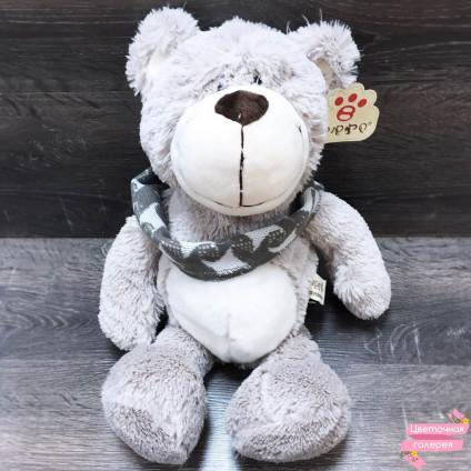 Мишка серый «Весёлый с шарфом»