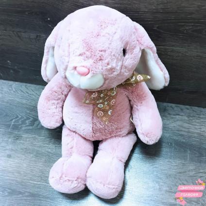 Зайка розовый «С бантиком»