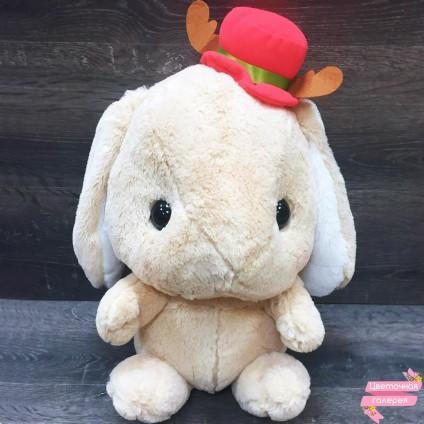 Зайка кремовый «С красной шляпкой»
