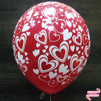 Шарик красный «Сердечки»
